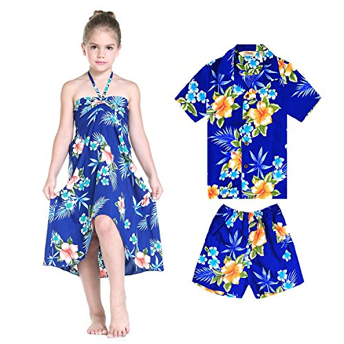 Matching Boy and Girl Siblings Hawaiian Luau Outfits in Hibiscus Assorted Colors