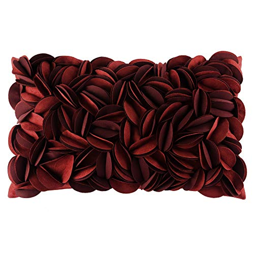 King Rose Handmade 3D Flower Home Decorative Throw Pillow Case Rectangle Cushion Cover 12 x 20 Inches for Sofa Couch Chair Bed Wine Red