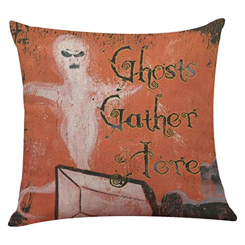 "YOcheerful Halloween Pillow Cover Pumpkin Witch Scary Bat Ghost Devil Kittens (I,45cm45cm/1818"") -"