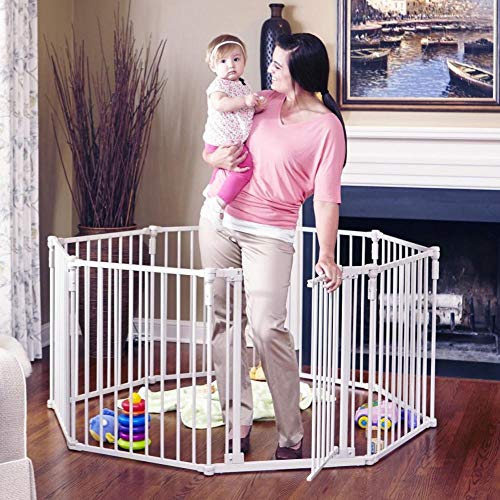 """Toddleroo by North States 3 in 1 Metal Superyard: 198"""" long extra wide baby gate, barrier or play yard. Hardware or freestanding. 8 panels, 19 sq.ft. enclosure (30"""" tall, Beige)"""
