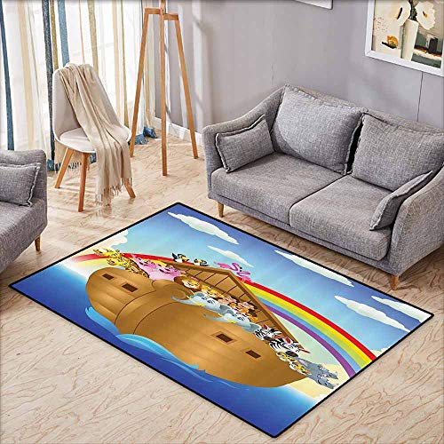 Children's Rug Noahs Ark Decor Collection llustration of Cute Animals in Noahs Ark Sailing in Sea Ship Old Story Sunset Rainbows Blue Red Yellow Easy to Clean Carpet W5'9 xL3'9 ()