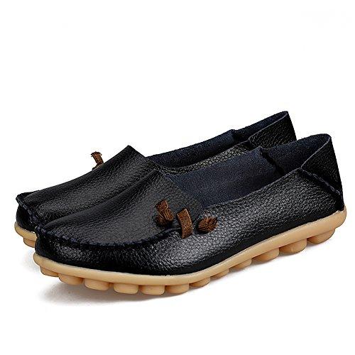 Chère-reine Chaussures De Conduite Femme Cuir De Vachette Décontracté Mocassins Lacets Chaussures Bateau Noir