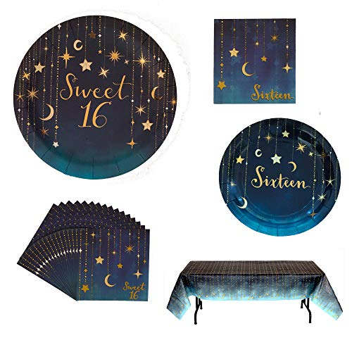Havercamp Starry Night Sweet 16 Party Bundle | Gold Foil Printed Plates, Napkins, Table Cover | Great for Girl's 16th Birthday Bash, Coming of Age, Teenage Party -