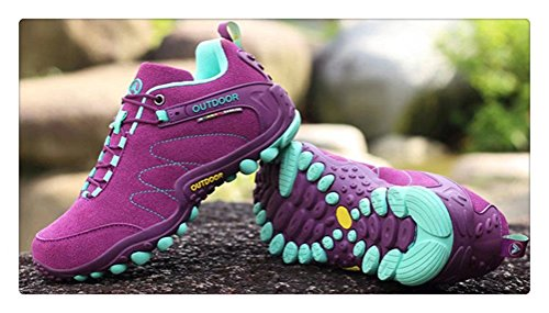 ANBOVER Unisex Waterproof Breathable Hiking Boot Cross-Country Shoes Purple VakeX