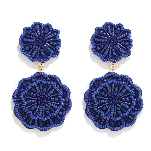 HSWE Statement Beaded Drop Earrings for Women Handmade Seed Bead Earrings Layered Dangle Earrings Boho Round Earrings Gift for Ladies (Blue)
