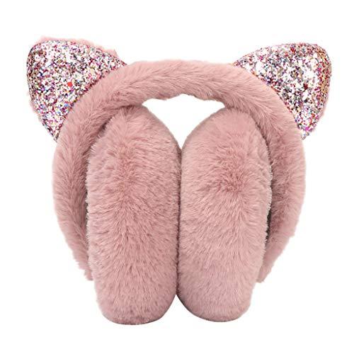 BCDshop Women Winter Earmuffs Soft Faux Fur Cute Sequin Cat Ears Windproof Adjustable Ear Warmers (Watermelon Red 1)