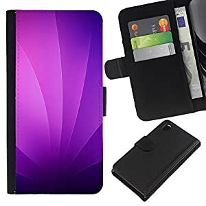 LECELL--Cuero de la tarjeta la carpeta del tirón Smartphone Slots Protección Holder For Sony Xperia Z3 D6603 -- Remolinos púrpuras --