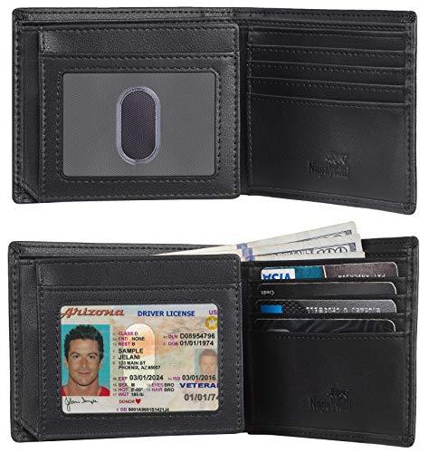Toughergun RFID Blocking Trifold Bifold Mens Wallet 18 Slots Extra Capacity (napa black)