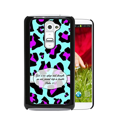 Psalm 46:1 Religious Bible Verse Mint Blue & Hot Pink Cheetah Animal Print (1st Generation) LG G2 Hard Plastic Phone Case - NOT COMPATIBLE WITH VERIZON CARRIER