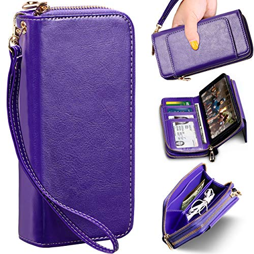 Note Case Wallet - ELV Purse Wallet Case for Samsung Note 9 [PU Leather] Detachable 2in1 Folio Purse Credit Card Flip Case with Card Slots, Stand and Magnetic Closure for Samsung Galaxy Note 9 (Purple)