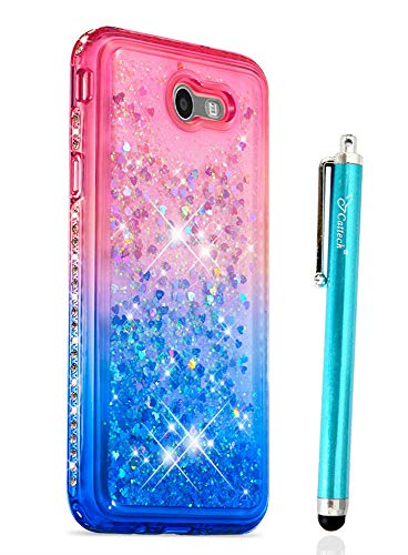 Diamond Samsung - Cattech for Galaxy J7 V Case/Galaxy J7 Prime/J7 Perx/J7 Sky Pro/Galaxy Halo Case, Glitter Floating Flowing Sparkle Flexible TPU Bling Diamond Slim Clear Soft TPU Protective Cover + Stylus (Pink/Blue)