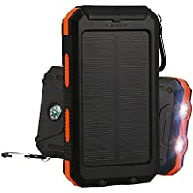 Solar Charger,External Backup Battery,with Dual USB Ports,2LED Flashlights,Carabiner and Compass,Charging for Smartphones,iPad,Tablet,Camera (Black and Orange)