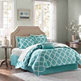 9 Piece Girls Aqua Blue Color Moroccan Comforter Set Full With Sheets, Beautiful Quatrefoil Fretwork Lattice Geometric Pattern Bold Light Blue Base Chic, Reversible White Teen, Microfiber