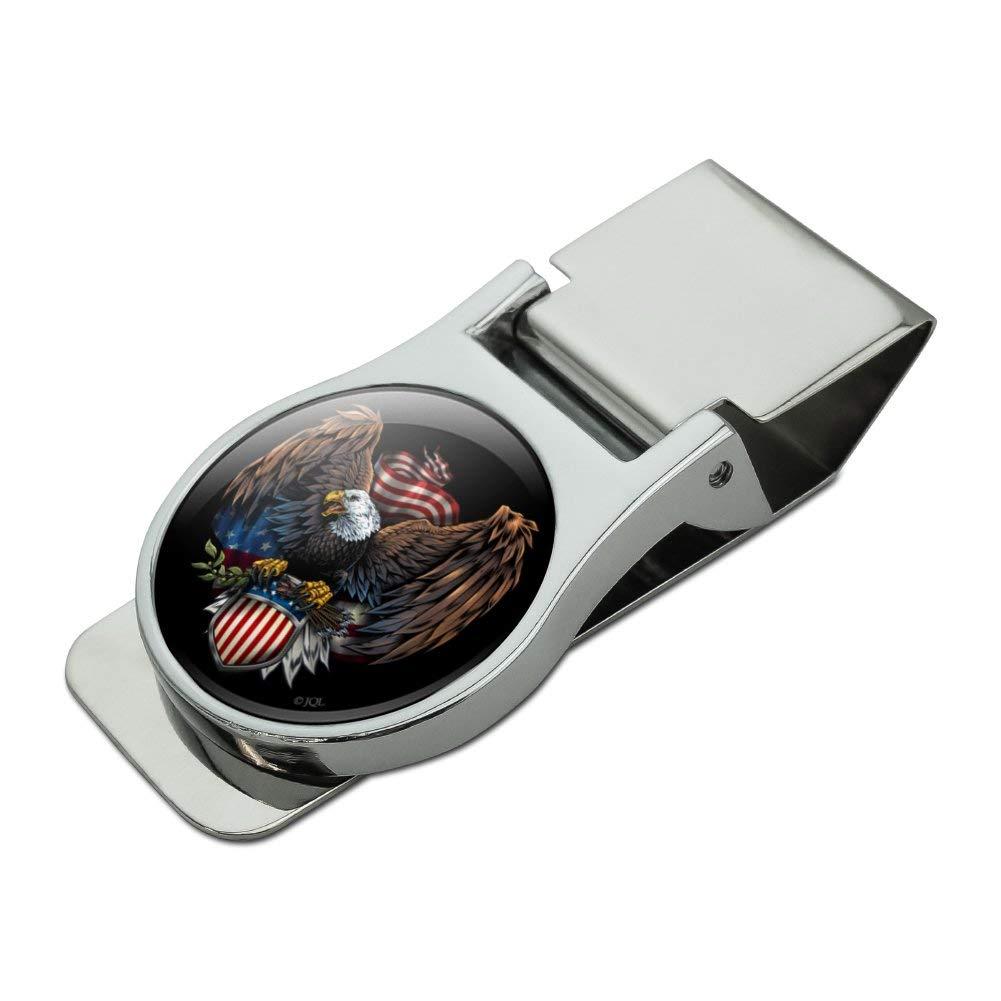 Patriotic Eagle USA American Flag Shield Satin Chrome Plated Metal Money Clip