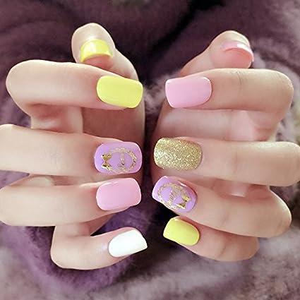 yunail Kawaii uñas punta soporte con diseños 24pcs corto cuadrado falsas uñas amarillo rosa blanco con purpurina clavos falsos Full Cover: Amazon.es: ...