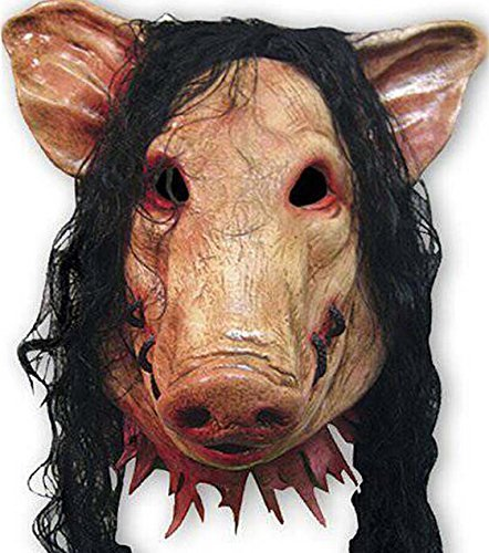 Halloween Festival Costume Horrible Mask Thrill Decorative Cosplay Animal Saw Pig Mask with Hair (Halloween Costumes Saw Pig)