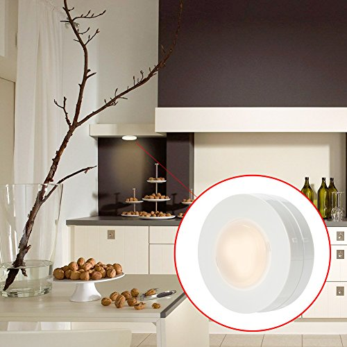 SOLLED Wireless LED Puck Lights, Kitchen Under Cabinet Lighting with Remote Control, Battery Powered Dimmable Closet Lights, 4000K Natural Light-6 Pack by SOLLED (Image #7)