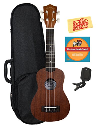 Lanikai LU-21 Soprano Ukulele Bundle with Hard Case, Clip-On Tuner, Austin Bazaar Instructional DVD, and Polishing Cloth