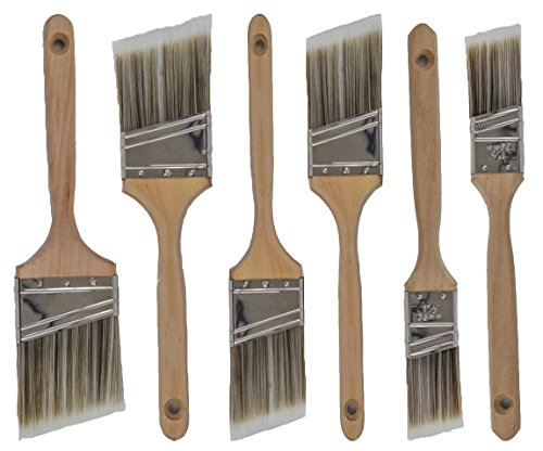 Pro-Grade Premium Wall/Trim House Paint Brush Set Great for Professional Painter and Home Owners Painting Brushes for Cabinet Decks Fences Interior Exterior & Commercial Paintbrush. (6Pk) (Best Paint Brush For Primer)