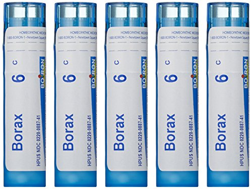Boiron Borax 6C (Pack of 5), Homeopathic Medicine for Canker Sores