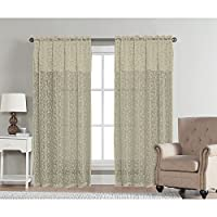 "Aubrey by Artistic Linen Easy to Hang Lace Rod Pocket Window Curtain Panel with Attached Valance, 54""x90'', Sage"