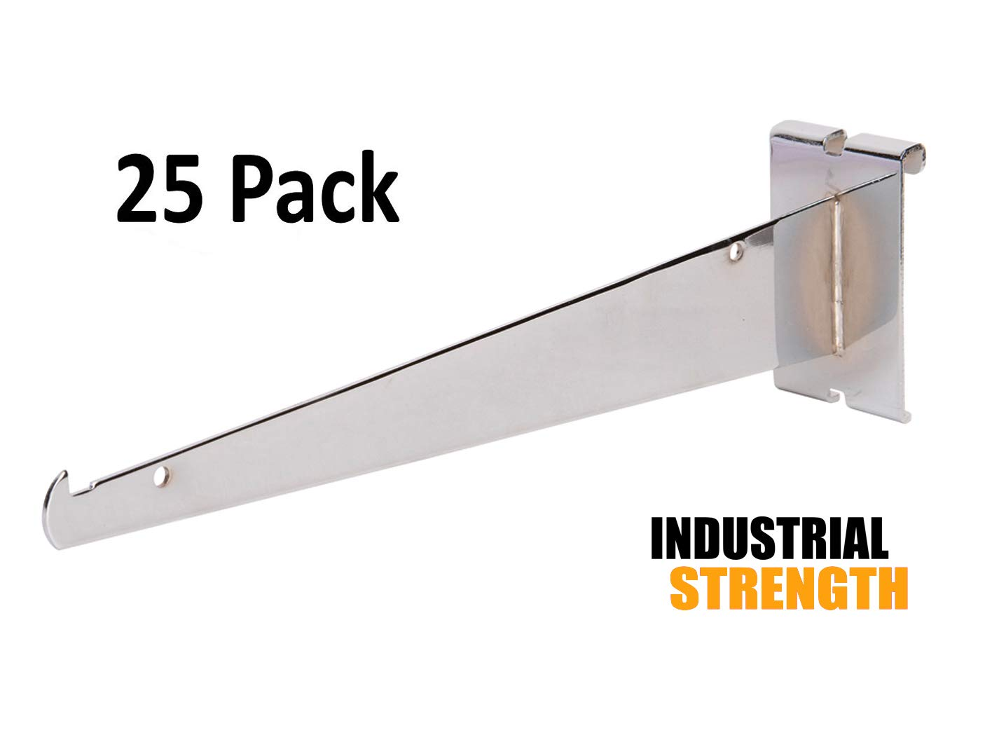 Only Hangers Shelf Brackets for Gridwall, 12'' Chrome Grid Panel Brackets (Pack of 25) - Shelf Brackets Fit all 3'' x 3'' Standard Gridwall Panels
