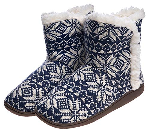 (Women Comfort Warm Fluffy Faux Fur Slipper Boots Soft Memory Foam Ankle Booties House Pull on Shoes Anti-Slip Sole Indoor/Outdoor (10 M US Women, Blue Snow) )