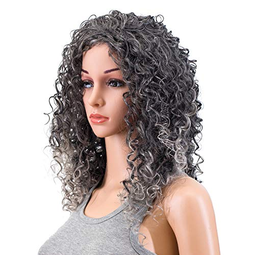 SWACC 20-Inch Long Big Bouffant Curly Wigs for Women Synthetic Heat Resistant Fiber Hair Pieces with Wig Cap (Gray Mixed -