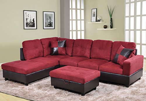 Beverly Furniture 3 Piece Microfiber and Faux Leather Upholstery Right-facing Sectional Sofa Set with Storage Ottoman Red : red leather sectional furniture - Sectionals, Sofas & Couches