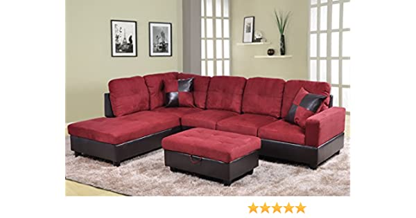 Beverly Fine Furniture F104A Andes Microfiber with Faux Leather Sofa Set  with Ottoman Red Raspberry