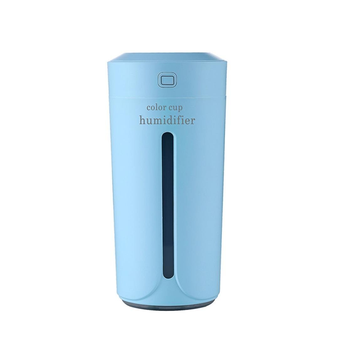 230ml Mini Portable Cool Mist Cup Humidifier, USB Ultrasonic Air Humidifier Purifier for Office Desk Bedroom Home Babies Kids Car, with 7 Colors LED Night Light and Filter (Blue)