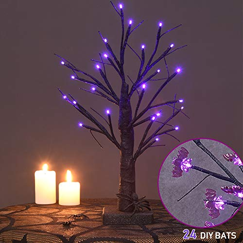 Battery Operated Halloween Decorations (Twinkle Star 24 LED Halloween Lighted Black Tree Battery Operated with 24 DIY Purple Bat, Indoor Home Table Best Halloween)