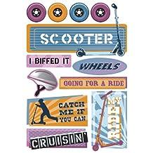 Karen Foster Design Acid and Lignin Free Scrapbooking Sticker Sheet, Kid's Scooter