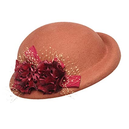 Aihifly Vintage Flower Wool Felt Cloche Fedora Hat For Ladies Church Bowler  Hats Derby Party Fashion ea09793afe88