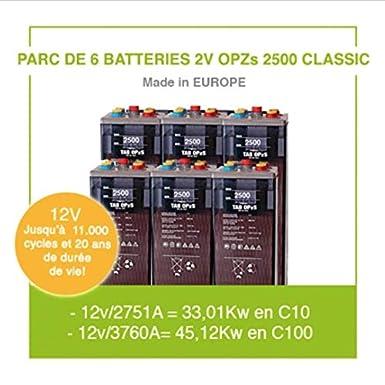 Parque de 6 baterías de 2 V OPZs 2500