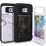 Galaxy S6 Edge Case, TORU [S6 Edge Wallet Case Pattern Marble] Protective Slim Fit Dual Layer Hidden Credit Card Holder ID Slot Card Case with Mirror for Samsung Galaxy S6 Edge - Marble Stone
