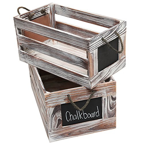 Distressed Torched Wood Finish Nesting Boxes / Rustic Storage Crates with Chalkboard Labels (Set of 2)