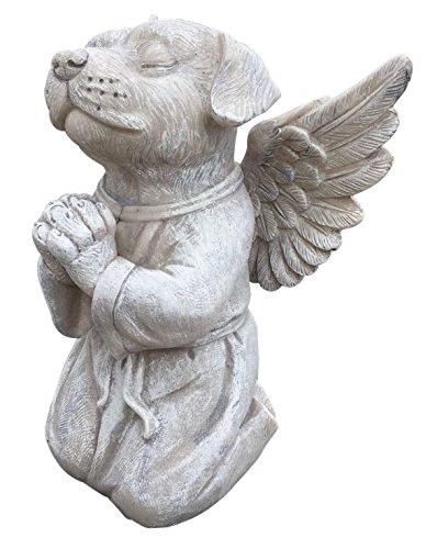 Clovers Garden Dog Angel Memorial Statue - Garden Marker Pet Remembrance Stone - Praying Dog Angel from