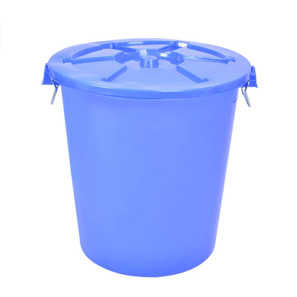 CSQ Plastic Trash Can, 65L/100L Trash Can with Lid, Pedestrian Street School Public Place Trash Can Round Thick Trash Can Indoor