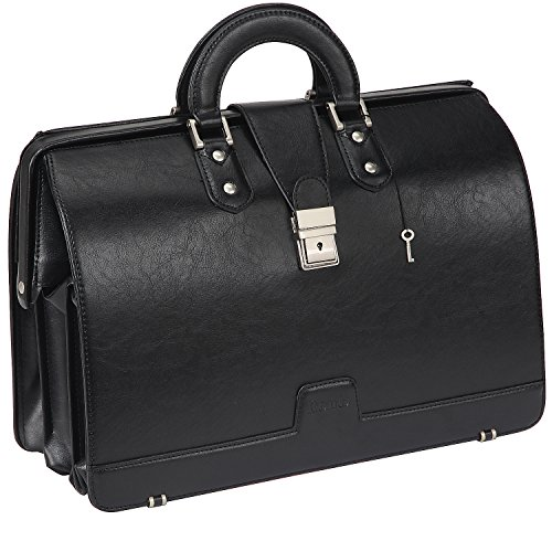Ronts Mens PU Leather Briefcase Lawyer Attache Case with Lock Business Handbags Doctor Bag Medical Bag 15.6 Inch Laptop Bag Attorney Bag Black