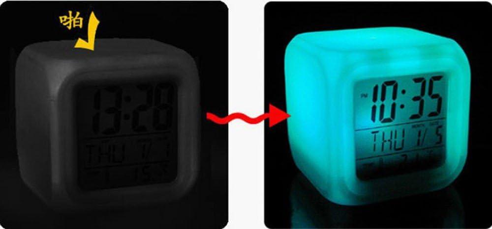 Affichage de la Date lumi/ère de Nuit temp/érature Conqueror R/éveils /électroniques Thermom/ètre Alarme Num/érique Nuit Lumineuse Cube 7 Couleurs Horloge LED Changement r/étro-/éclairage