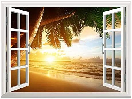 Removable Wall Sticker/Wall Mural - Sunrise on Caribbean Beach | Creative Window View Wall Decor - 24