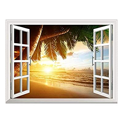 Charming Object of Art, Removable Wall Sticker Wall Mural Sunrise on Caribbean Beach Creative Window View Wall Decor, it is good