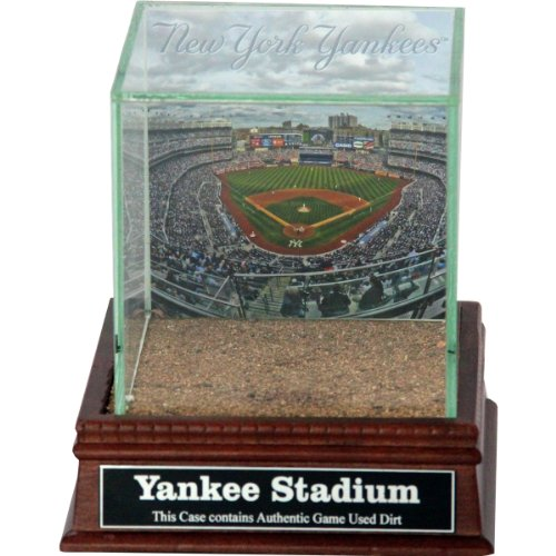 Timeless Glass Cherry - Steiner Sports MLB New York Yankees Stadium Background Glass Single Baseball with Yankee Stadium Authentic Dirt and Nameplate