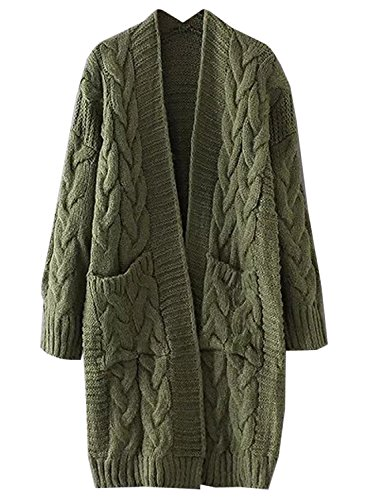 (Futurino Women's Chunky Twist Knitted Open Front Patch Pocket Long Cardigan Oversized Coat)