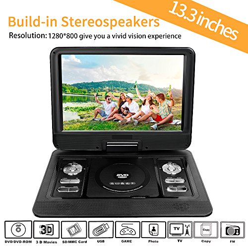 13 3 portable dvd player mobile dvd player with 270. Black Bedroom Furniture Sets. Home Design Ideas