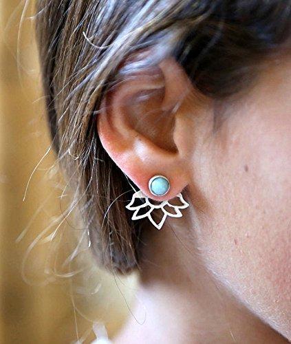 handmade-designer-turquoise-ear-jackets-925-sterling-silver-lotus-earrings