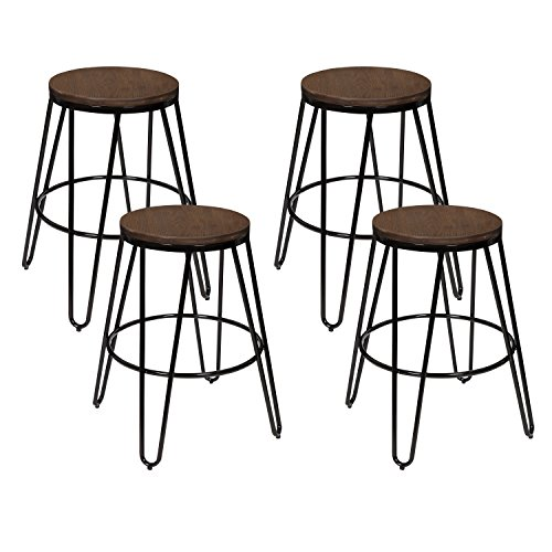 Kate and Laurel 212879 Tully Bar Stool, 24″, Black/Wood For Sale
