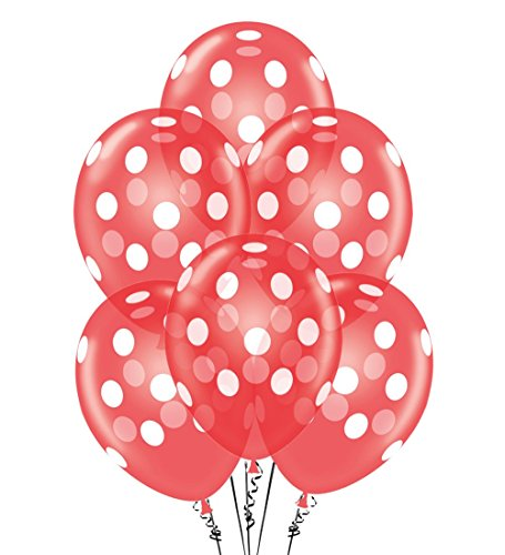 Polka Dot Balloons 11in Premium Crystal Red with All-Over print White Dots -