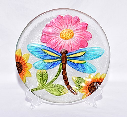 """New 8"""" Colorful Blue Dragonfly with Yellow Sunflowers & Pink Daisy Flower Decorative Glass Plate with Display Stand"""